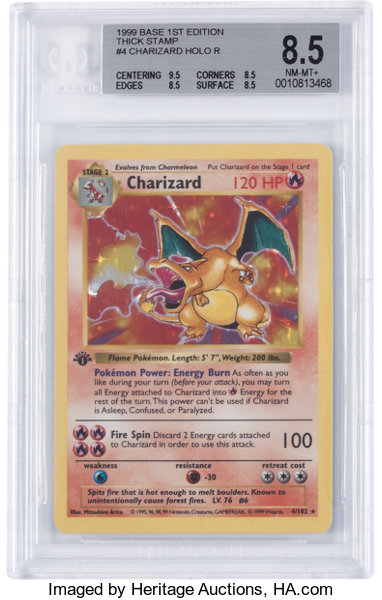 Pokémon Charizard #4 First Edition Base Set Thick Stamp Rare