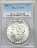 1885-CC $1 MS65 PCGS. PCGS Population: (4502/1380). NGC Census: (1794/783). CDN: $780 Whsle. Bid for problem-free NGC/PC...