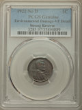 Lincoln Cents, 1922 1C No D, Strong Reverse, -- Environmental Damage -- PCGS Genuine. VF Details....