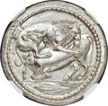 Ancients:Greek, Ancients: MACEDON. Acanthus. Ca. 470-430 BC. AR tetradrachm (28mm, 17.12 gm, 4h). NGC MS★ 5/5 - 4/5, Fine Style....