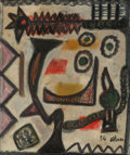 Post-War & Contemporary:Abstract Expressionism, Jean-Michel Atlan (1913-1960). L'Egyptienne, 1954. Oil oncanvas. 25-3/4 x 21-1/4 inches (65.4 x 54.0 cm). Signed and da...
