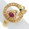 Estate Jewelry:Rings, Ruby, Diamond, Emerald, Gold Ring The spinner ...