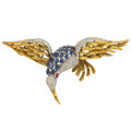 Estate Jewelry:Brooches - Pins, Diamond, Synthetic Multi-Stone, Gold Brooch . ...