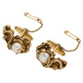Estate Jewelry:Cufflinks, Cultured Pearl, Gold Cuff Links. ...