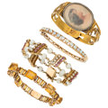 Estate Jewelry:Bracelets, Multi-Stone, Cultured Pearl, Gold Jewelry. ... (Total: 4 Items)