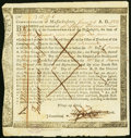 Massachusetts Interest Due Treasury Certificate £12.9s.6d January 1, 1782 Anderson MA-34 Very Fine