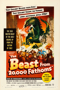 "The Beast from 20,000 Fathoms (Warner Brothers, 1953). Very Fine- on Linen. Autographed One Sheet (27.25"" X 41""..."