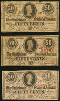 Confederate Notes:1863 Issues, T63 50 Cents 1863, Three Examples Very Good or Better.. ... (Total: 3 notes)