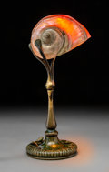 Lighting:Lamps, Tiffany Studios Bronze and Conch Desk Lamp. Circa 1900. Stamped TIFFANY STUDIOS, NEW YORK, (TG&D, CO. cipher...