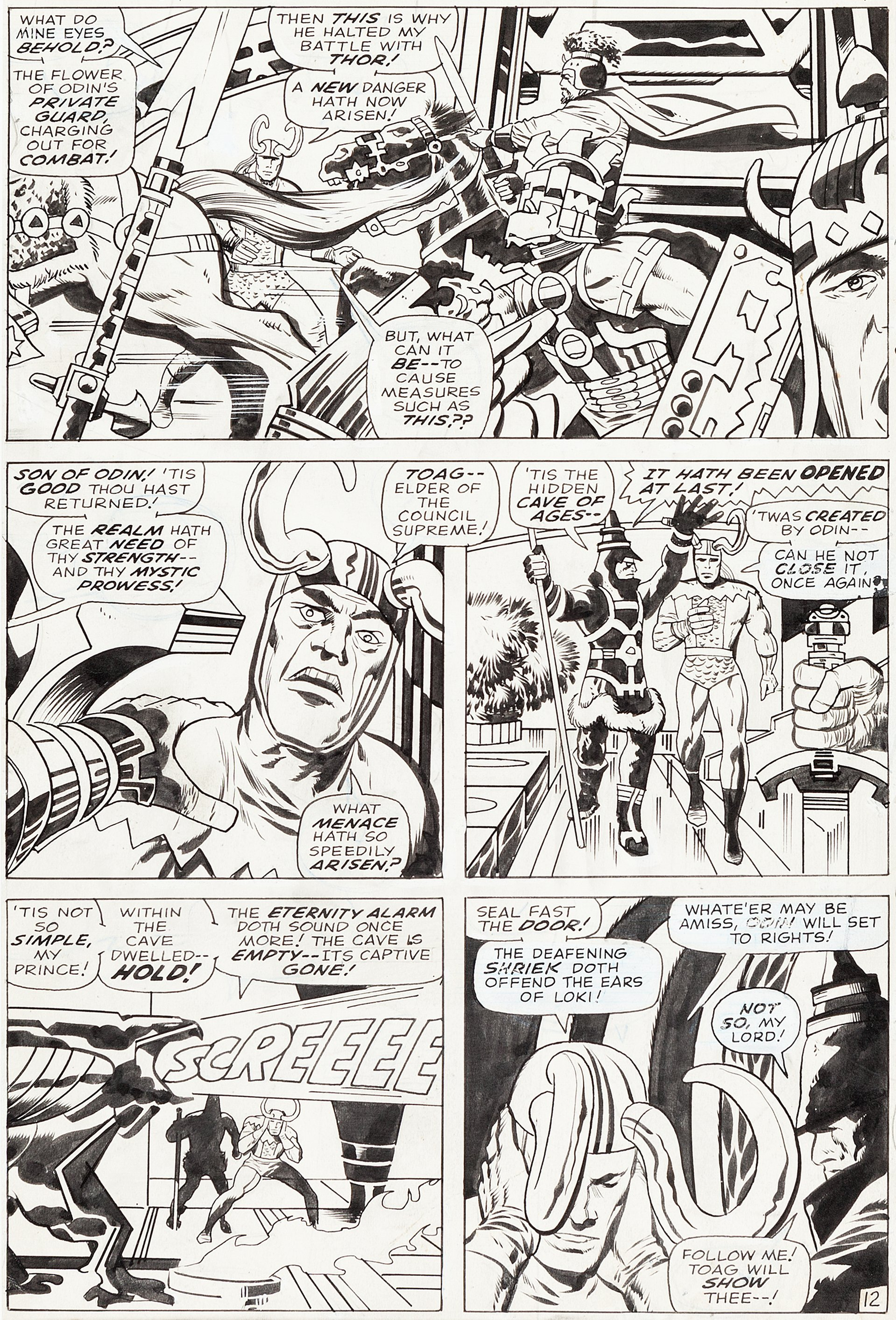 Jack Kirby and Vince Colletta Thor #154 Story Page 12 Original Art