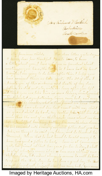 What Is The Postage Rate For A Letter.Civil War Letter Sent From North To South With A Federal Ten