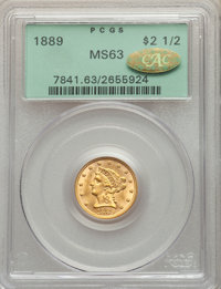 1889 $2 1/2 MS63 PCGS. Gold CAC. PCGS Population: (62/75). NGC Census: (67/50). CDN: $650 Whsle. Bid for problem-free NG...
