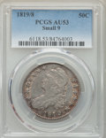 Bust Half Dollars: , 1819/8 50C Small 9 AU53 PCGS. PCGS Population: (24/71). NGC Census: (17/85). CDN: $900 Whsle. Bid for problem-free NGC/PCGS...