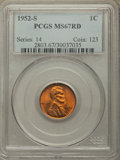 Lincoln Cents, 1952-S 1C MS67 Red PCGS. PCGS Population: (187/0). NGC Census: (432/0). CDN: $125 Whsle. Bid for problem-free NGC/PCGS MS67...