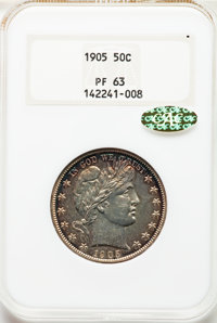 1905 50C PR63 NGC. Gold CAC. NGC Census: (32/124 and 0/1+). PCGS Population: (49/151 and 1/3+). PR63. Mintage 727....(PC...