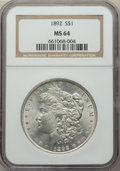 Morgan Dollars: , 1892 $1 MS64 NGC. NGC Census: (828/98). PCGS Population: (1669/372). CDN: $850 Whsle. Bid for problem-free NGC/PCGS MS64. M...
