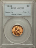 Lincoln Cents, 1941-D 1C MS67 Red PCGS. PCGS Population: (222/0). NGC Census: (922/0). CDN: $100 Whsle. Bid for problem-free NGC/PCGS MS67...