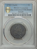 Large Cents, 1793 Chain 1C Periods -- Corrosion -- PCGS Genuine. Poor/Fair Detail. NGC Census: (0/0 and 0/0+). PCGS Population: (6/87 an...