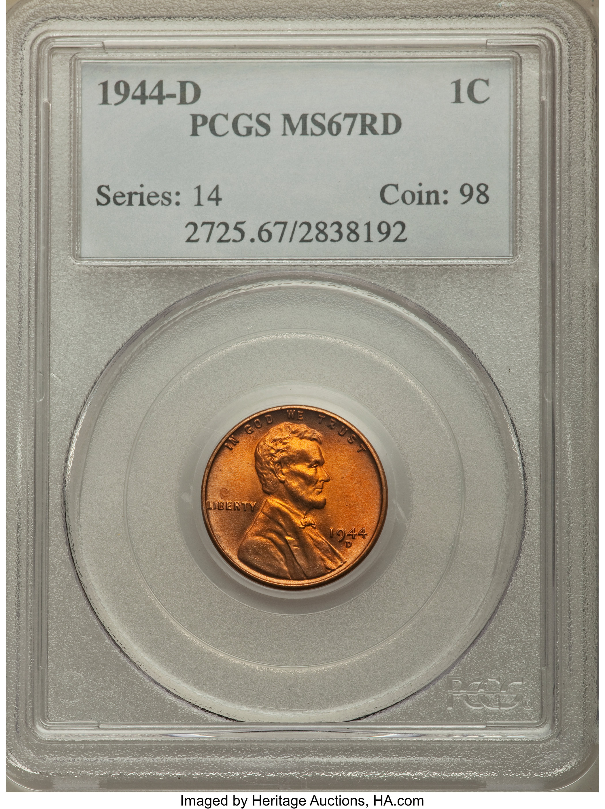 NGC Certified MS 67 RD 1992 D Lincoln 1c