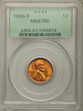 Lincoln Cents, 1936-S 1C MS67 Red PCGS. PCGS Population: (77/0). NGC Census: (130/0). CDN: $550 Whsle. Bid for problem-free NGC/PCGS MS67....