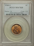Lincoln Cents, 1948-S 1C MS67 Red PCGS. PCGS Population: (283/0). NGC Census: (587/0). CDN: $85 Whsle. Bid for problem-free NGC/PCGS MS67....