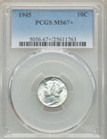 Mercury Dimes: , 1945 10C MS67+ PCGS. PCGS Population: (293/2 and 18/0+). NGC Census: (1076/2 and 3/0+). CDN: $50 Whsle. Bid for problem-fre...