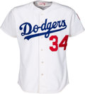 Baseball Collectibles:Uniforms, 1984 Fernando Valenzuela Game Worn Los Angeles Dodgers Jersey with Olympic Games Patch....