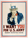 Military & Patriotic:WWI, World War I Propaganda by James Montgomery Flagg (Leslie-Judge Co., 1917): Iconic Uncle Sam Recruitment Poster....