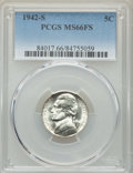 Jefferson Nickels, 1942-S 5C MS66 Full Steps PCGS. PCGS Population: (223/56). NGC Census: (87/23). CDN: $130 Whsle. Bid for problem-free NGC/P...