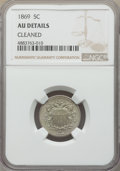 Shield Nickels, 1869 5C -- Cleaned -- NGC Details. AU. This lot will also include the following: 1872 5C -- Cleaned -- NGC Details; ... (Total: 3 coins)