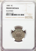 Proof Shield Nickels, 1880 5C -- Cleaned -- NGC Details. Proof. NGC Census: (6/720). PCGS Population: (2/999). PR60. Mintage 3,955....