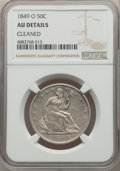Seated Half Dollars, 1849-O 50C -- Cleaned -- NGC Details. AU. NGC Census: (5/58). PCGS Population: (15/77). CDN: $550 Whsle. Bid for problem-fr...