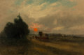 Fine Art - Painting, American, Charles H. Miller (American, 1842-1922). Sunset, 1889. Oilon canvas laid on board. 14-3/4 x 22-3/4 inches (37.5 x 57.8 ...