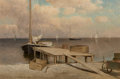Fine Art - Painting, American:Antique  (Pre 1900), William Huston (American, 1832-1920). Fishing Sloop at theDock, 1881. Oil on board. 12-1/8 x 18-1/4 inches (30.8 x46.4...