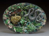 A Geoffrey Luff Palissy Ware Oval Platter, France, late 20th century Marks: (artist's cipher) 8-3/4 x 12 inches