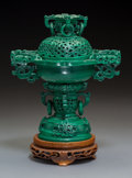 Carvings, A Chinese Carved Malachite Censer on Wood Stand, 20th century. 9-3/8 x 6-7/8 x 4-5/8 inches (23.8 x 17.5 x 11.7 cm). ...