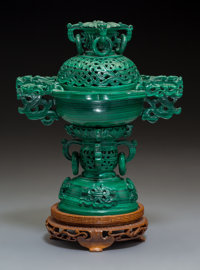 A Chinese Carved Malachite Censer on Wood Stand, 20th century 9-3/8 x 6-7/8 x 4-5/8 inches (23.8 x 17.5 x 11.7 cm)