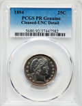 Proof Barber Quarters, 1894 25C -- Cleaned -- PCGS Genuine. Unc Details. NGC Census: (3/261). PCGS Population: (8/276). CDN: $310 Whsle. Bid for p...