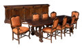 Furniture , A Ten Piece Italian Walnut Dining Suite: Table, Sideboard and Eight Leather-Upholstered Chairs, 20th century. 29-7/8 x 97-7/... (Total: 10 Items)