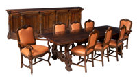A Ten Piece Italian Walnut Dining Suite: Table, Sideboard and Eight Leather-Upholstered Chairs, 20th century 29-7/