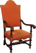 Furniture , A Spanish Baroque-Style Carved Wood Upholstered Armchair, circa 1920. 50-1/2 x 29-1/2 x 35 inches (128.3 x 74.9 x 88.9 cm). ...