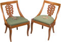 Furniture , A Pair of Diminutive Side Chairs with Needlepoint Upholstery, 20th century. Marks: MADE IN ITALY, RENOVATED OR REPAIRED BY... (Total: 2 Items)