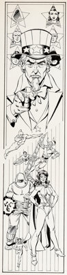 George Pérez and Karl Kesel History of the DC Universe #1 Page 48 Illustration Freedom Fighters Original Art (DC...