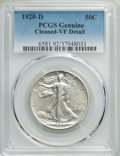 Walking Liberty Half Dollars, 1920-D 50C -- Cleaned -- PCGS Genuine. VF Details. This lot will also include a: 1920-S 50C -- Surfaces Smoothed -- ... (Total: 2 coins)