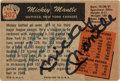 Baseball Collectibles:Others, Signed 1955 Bowman Mickey Mantle #202 Card. ...