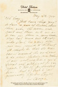 Football Collectibles:Others, 1942 Jim Thorpe Handwritten & Signed Letter. ...