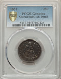 Seated Quarters, 1851 25C -- Altered Surfaces -- PCGS Genuine Gold Shield. AU Details. NGC Census: (1/23 and 0/1+). PCGS Population: (8/38 a...