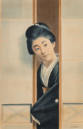 Works on Paper, S. Hodo (20th Century). Japanese Woman. Watercolor on paper. 18-1/2 x 12 inches (47.0 x 30.5 cm) (sight). Signed lower r...