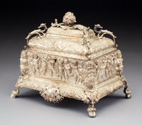 A French Silver Jewelry Casket, mid-19th century Marks: (partially effaced Minerva's head), partially effaced 8