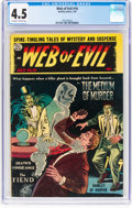 Golden Age (1938-1955):Horror, Web of Evil #16 (Quality, 1954) CGC VG+ 4.5 Off-white to white pages....